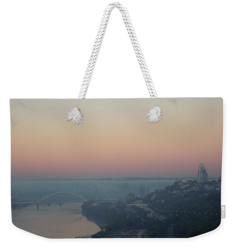 Cityscape Weekender Tote Bag featuring the photograph Skyscraper And Bridge by Ellen Meakin