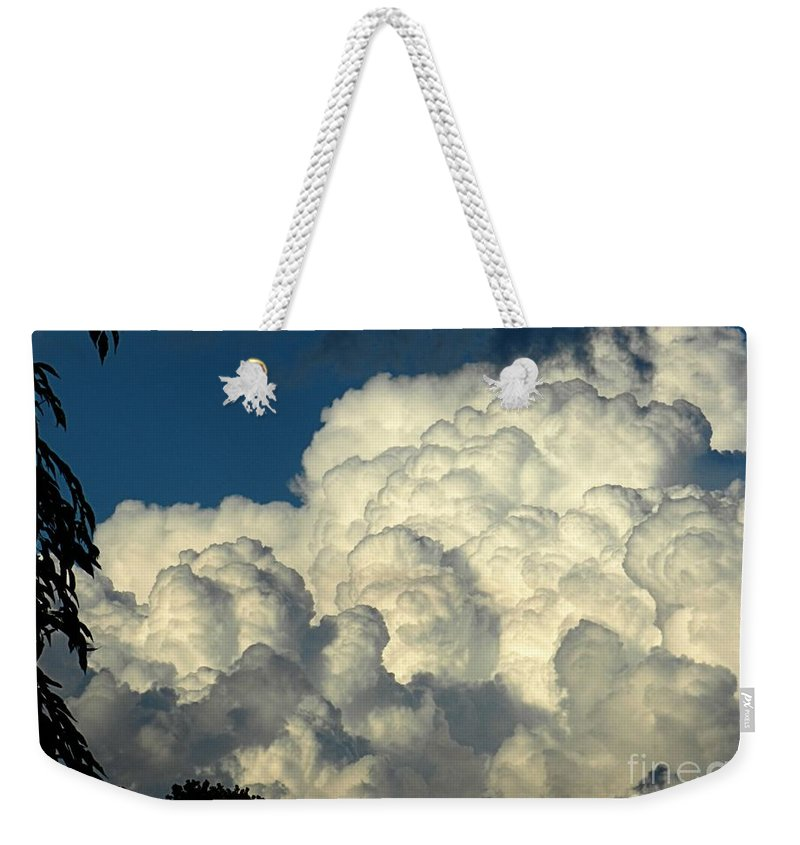 Cloud Weekender Tote Bag featuring the photograph Skyward Sculpture by Sharon Woerner