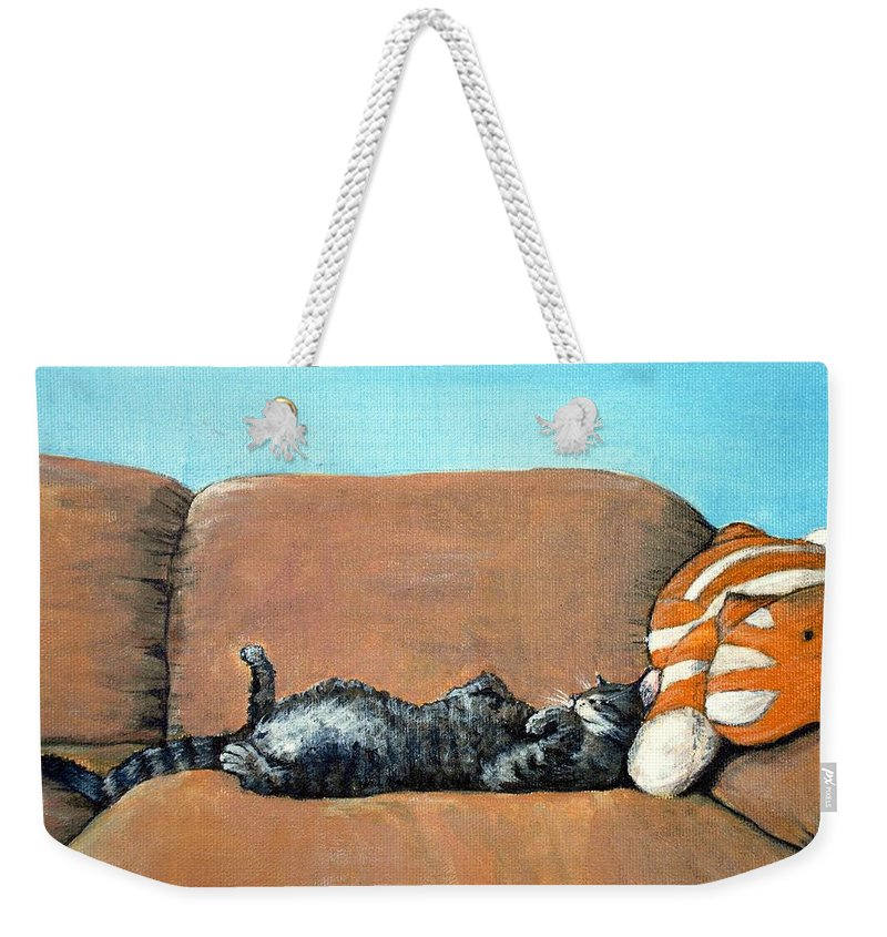 Calm Weekender Tote Bag featuring the painting Sleeping Cat by Anastasiya Malakhova