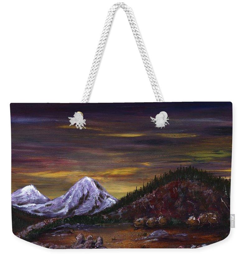 Mountain Weekender Tote Bag featuring the painting Sleeping Dragon by Anastasiya Malakhova