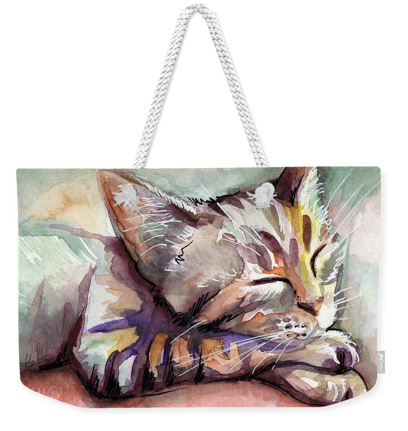 Sleeping Cat Weekender Tote Bag featuring the painting Sleeping Kitten by Olga Shvartsur