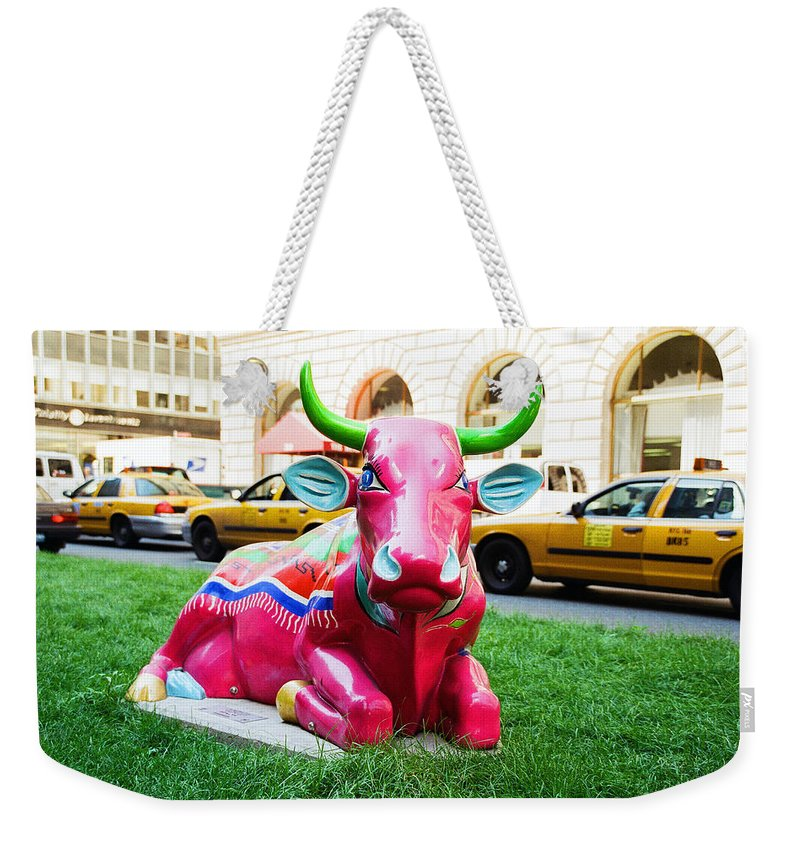 Sleepy Time Cow Weekender Tote Bag featuring the photograph Cow Parade N Y C 2000 - Sleepy Time Cow by Allen Beatty
