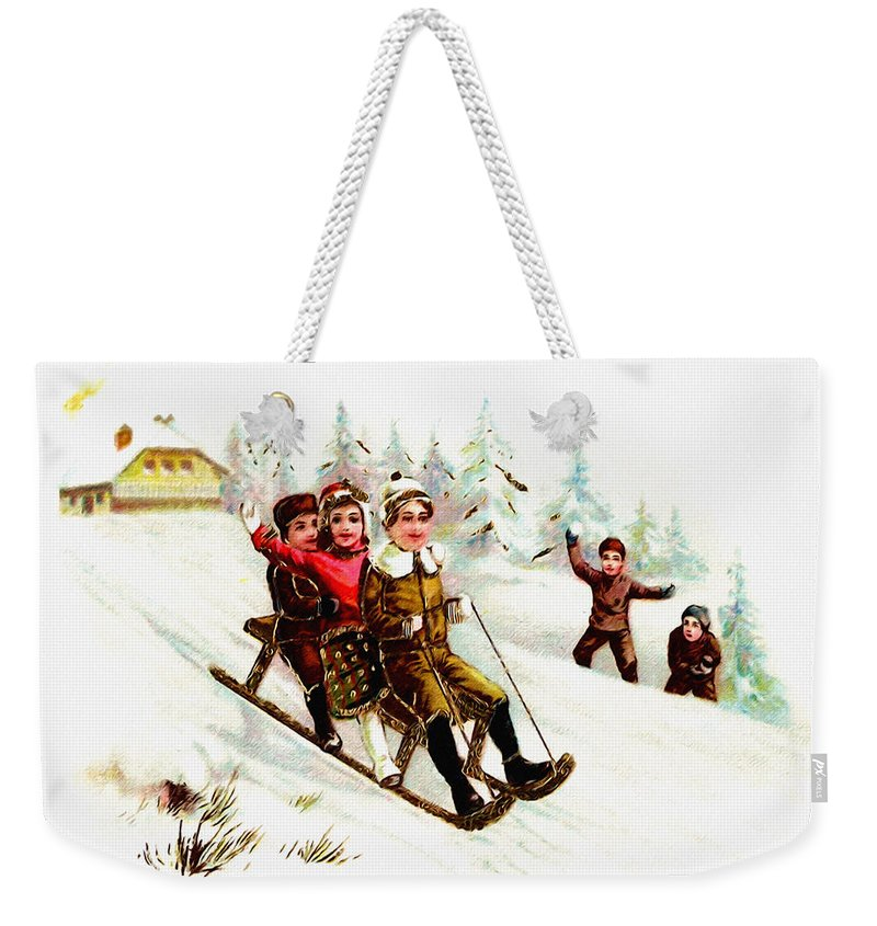 Sleigh Ride Weekender Tote Bag featuring the digital art Sleigh Ride by Bill Cannon