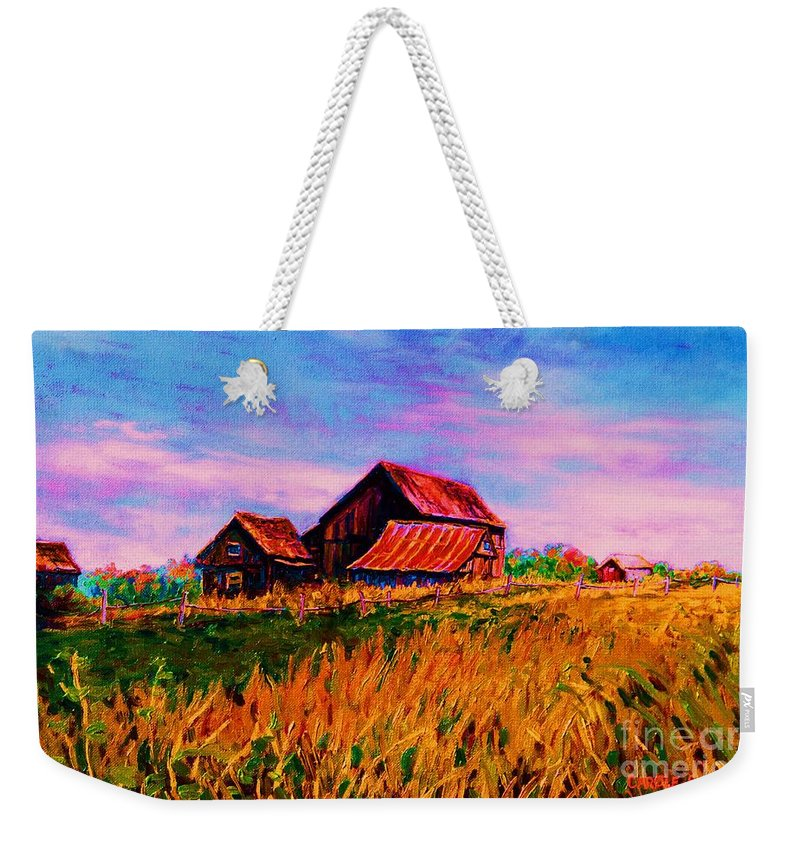 Rustic Barns Weekender Tote Bag featuring the painting Slendor In The Grass by Carole Spandau