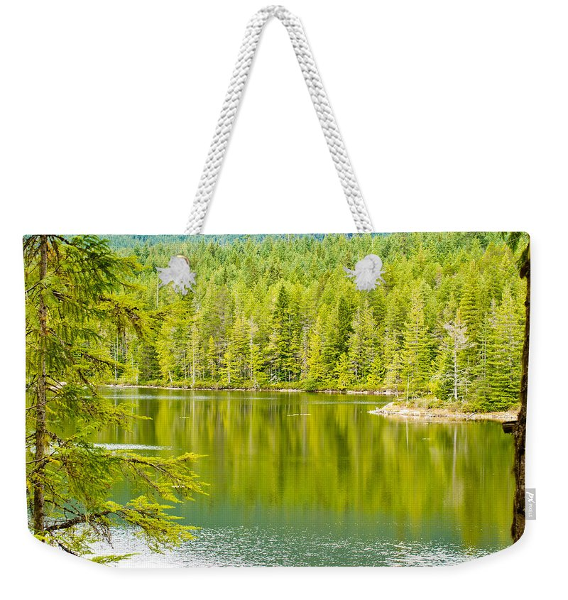 Lake Weekender Tote Bag featuring the photograph Sliammon Lake by Danielle Silveira