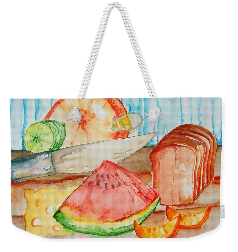 Fruit Weekender Tote Bag featuring the painting Slice It by Elaine Duras