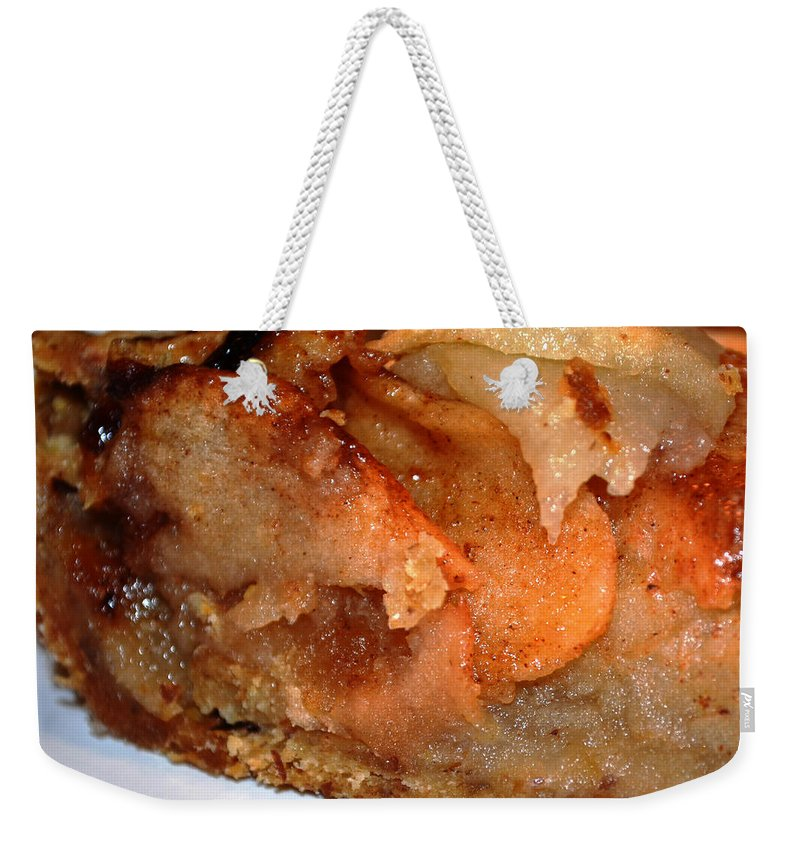 Homemade Vegan Apple Tart Weekender Tote Bag featuring the photograph Slice Of Apple Tart by Afroditi Katsikis