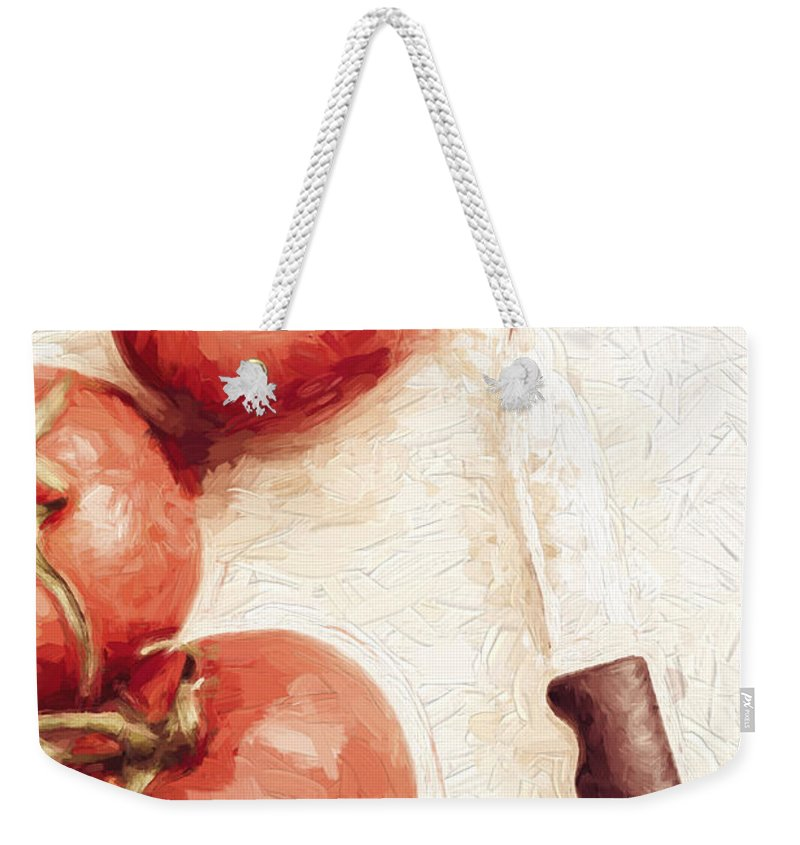 Knife Weekender Tote Bag featuring the digital art Sliced Tomatoes. Vintage Cooking Artwork by Jorgo Photography - Wall Art Gallery