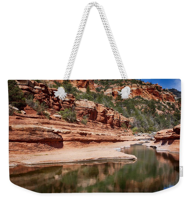 Fred Larson Weekender Tote Bag featuring the photograph Slide Rock State Park by Fred Larson