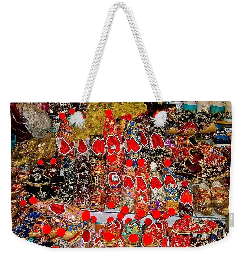 Slippers For Sale In Istanbul Weekender Tote Bag featuring the photograph Slippers For Sale In Istanbul-turkey by Ruth Hager