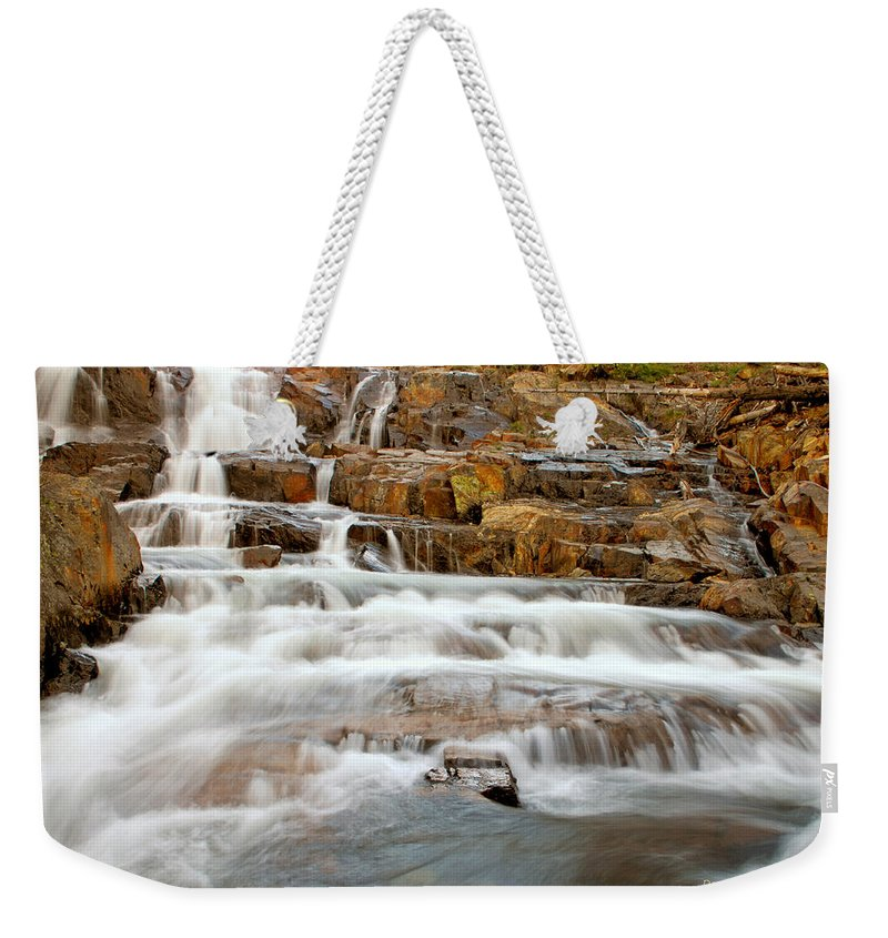 Water Fall Weekender Tote Bag featuring the photograph Slippery When Wet by Donna Blackhall