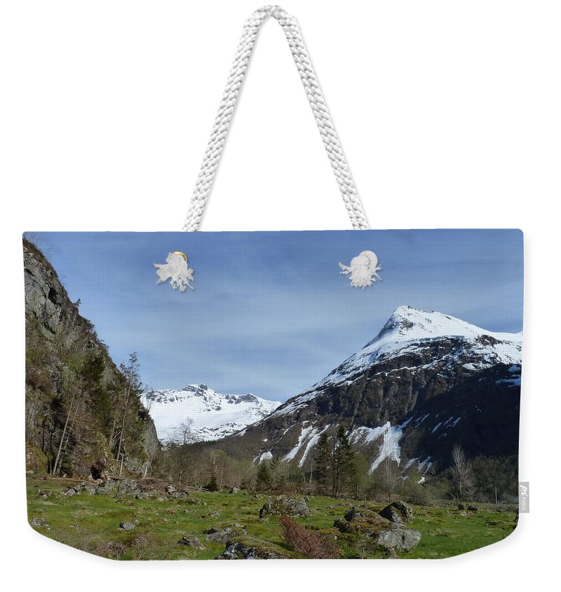 Weekender Tote Bag featuring the photograph Slogan Foothills by Katerina Naumenko