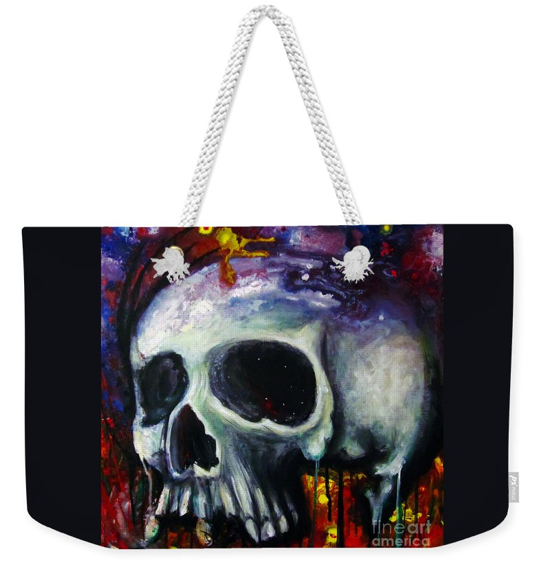 Skull Weekender Tote Bag featuring the painting Sloppy Skull by Justin Coffman