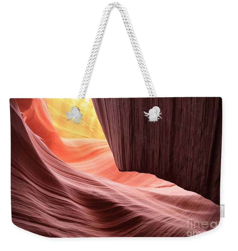 Arizona Slot Canyon Weekender Tote Bag featuring the photograph Slot Canyon Sun by Adam Jewell