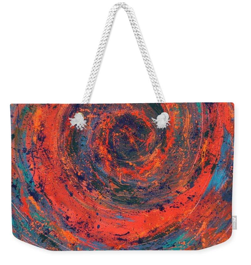 Modern Weekender Tote Bag featuring the painting Slow Temporal Repeat by Amanda Van Hoesen