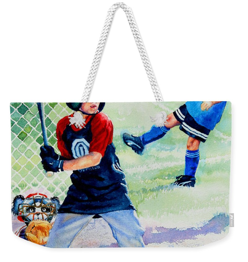 Baseball Weekender Tote Bag featuring the painting Slugger And Kicker by Hanne Lore Koehler