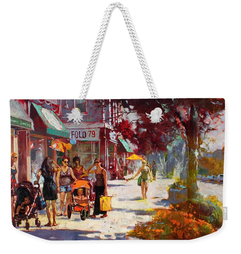 Landscape Weekender Tote Bag featuring the painting Small Talk In Elmwood Ave by Ylli Haruni