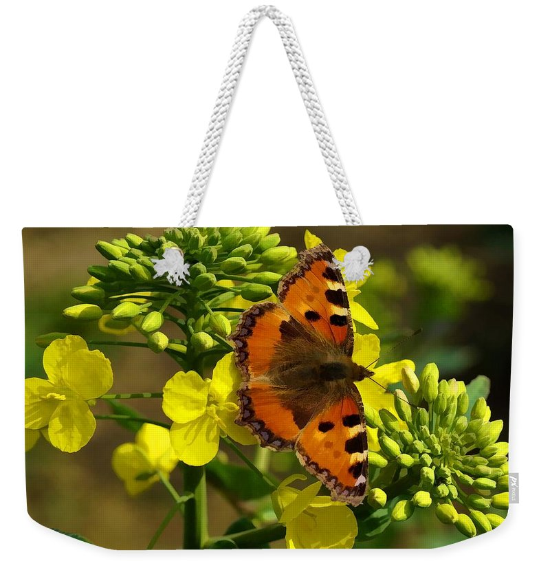 Small Tortoiseshell Weekender Tote Bag featuring the photograph Small Tortoiseshell by Ron Harpham