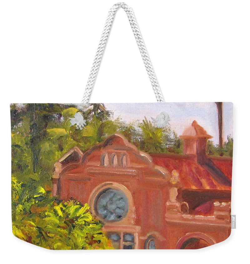 Redlands Weekender Tote Bag featuring the painting Smiley Library by Terry Chacon