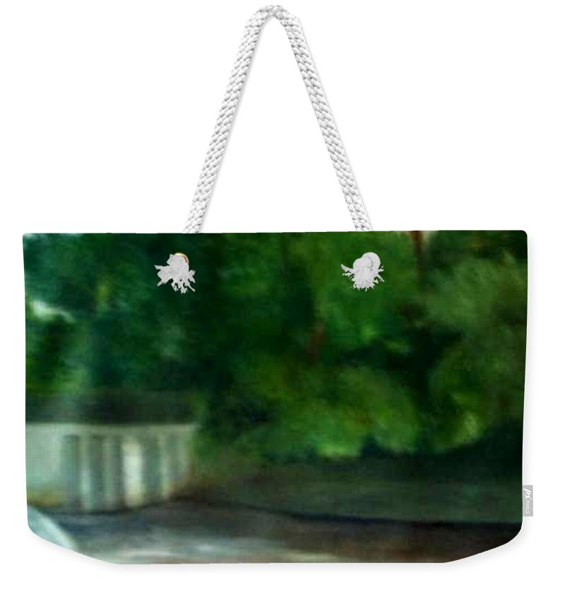 Smithville Park Weekender Tote Bag featuring the painting Smithville Park Dam by Sheila Mashaw