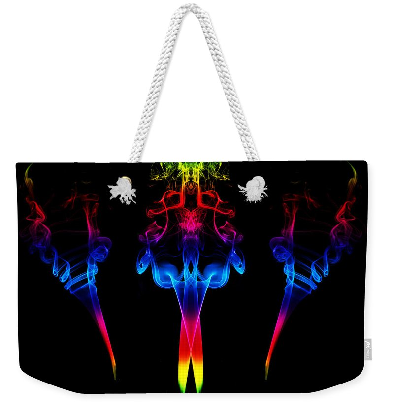 Smoking Trails Weekender Tote Bag featuring the photograph Smoke Art 120 by Steve Purnell