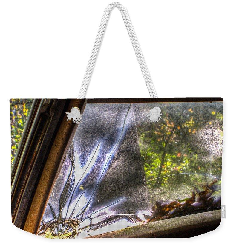 Weekender Tote Bag featuring the photograph Smokey Broken Windshield Lower Left by Douglas Barnett
