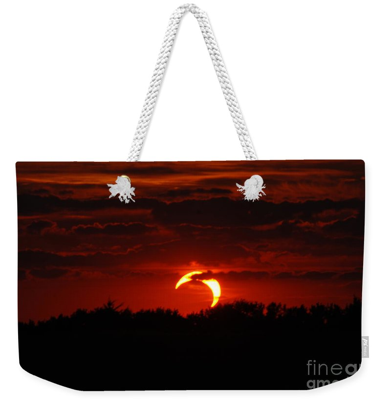Eclipse Weekender Tote Bag featuring the photograph Smokin Moon by Mark McReynolds