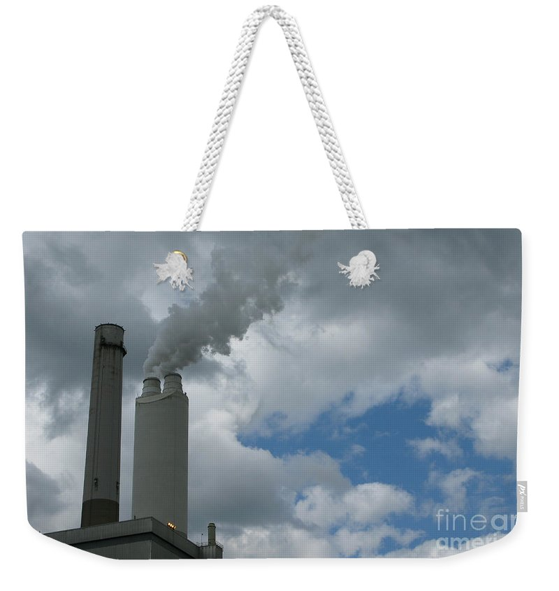 Smoke Stack Weekender Tote Bag featuring the photograph Smoking Stack by Ann Horn