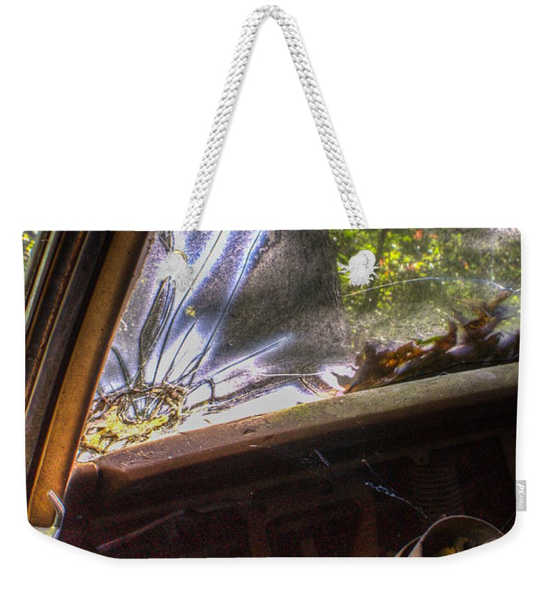 Window Weekender Tote Bag featuring the photograph Smoky Crack Lower Left Windshield 2 by Douglas Barnett