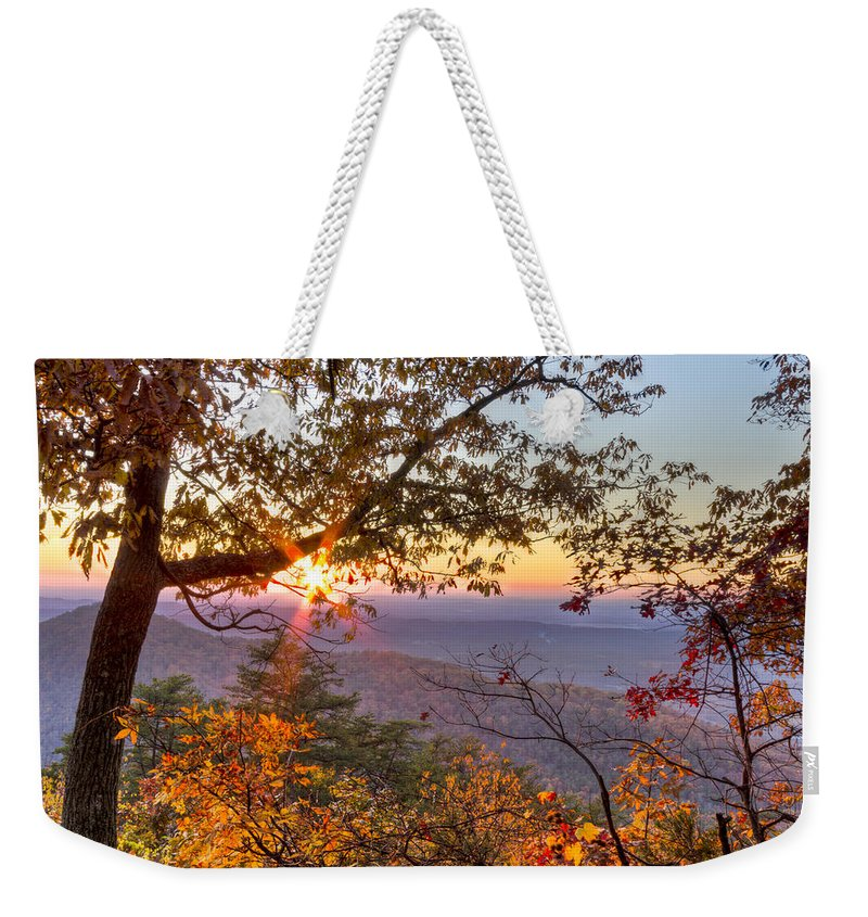 Appalachia Weekender Tote Bag featuring the photograph Smoky Mountain High by Debra and Dave Vanderlaan