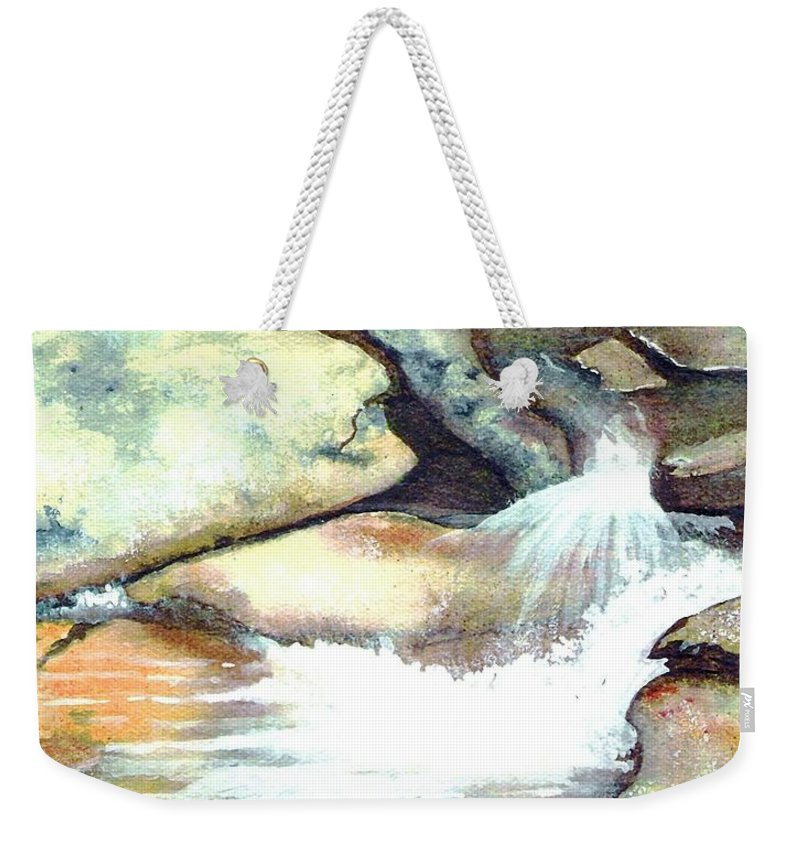 Fine Art Weekender Tote Bag featuring the painting Smoky Mountains Waterfall by Patricia Griffin Brett