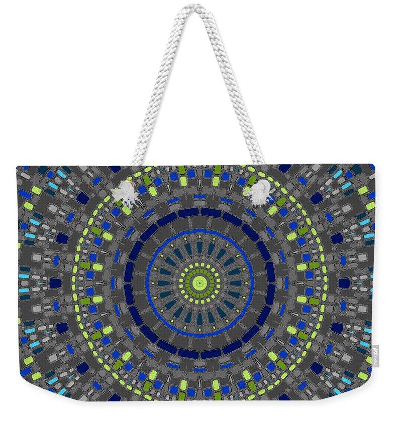 Mandala Weekender Tote Bag featuring the digital art Smooth Squares Kaleidoscope by Joy McKenzie