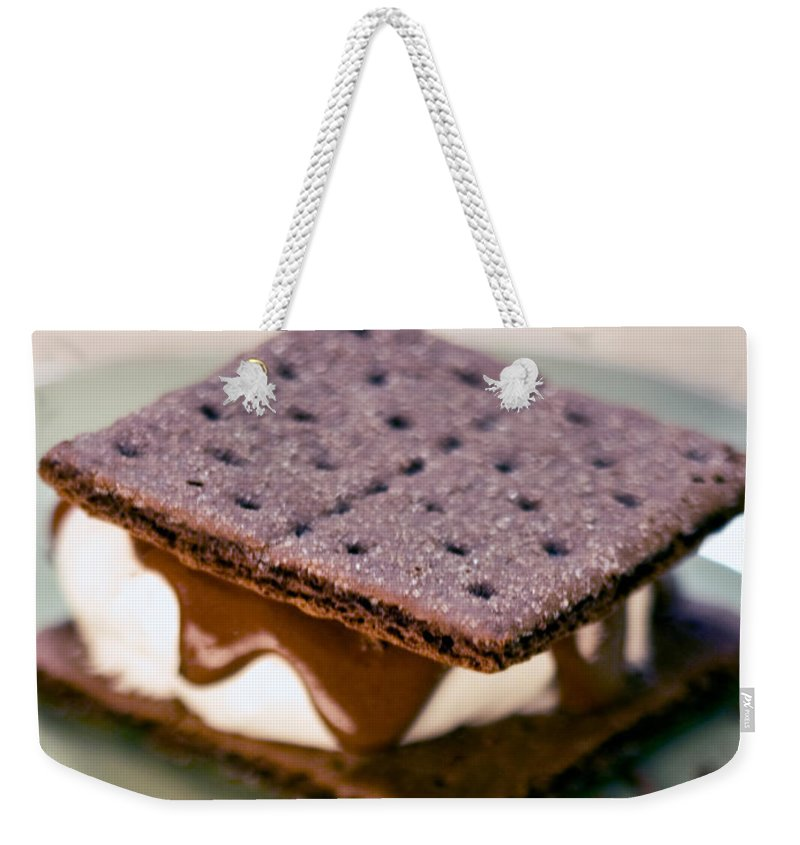 S'more With Chocolate Graham Weekender Tote Bag featuring the photograph National S'mores Day by Iris Richardson