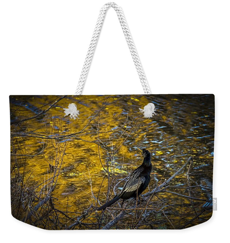 Snake Bird Weekender Tote Bag featuring the photograph Snake Bird by Marvin Spates
