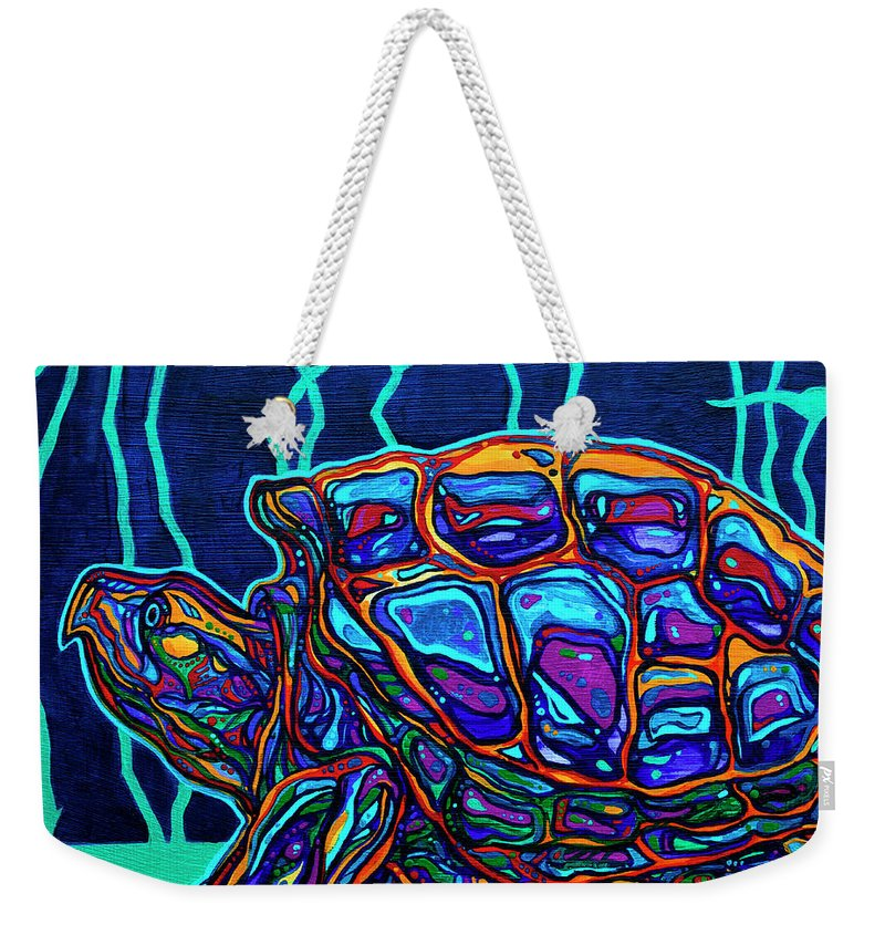Snapping Turtle Weekender Tote Bag featuring the painting Snapper by Derrick Higgins