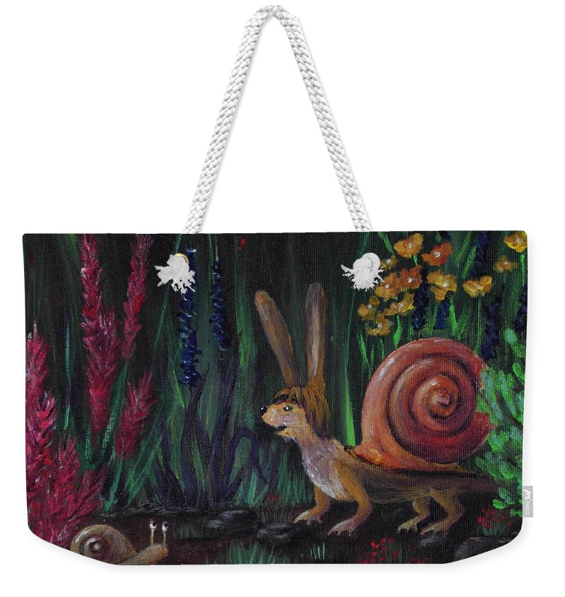 Malakhova Weekender Tote Bag featuring the painting Snellius Fluffius by Anastasiya Malakhova