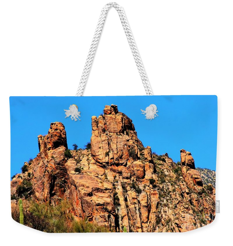 Snoopy Weekender Tote Bag featuring the photograph Snoopy Rock - Sabino Canyon Tucson Arizona by Tap On Photo