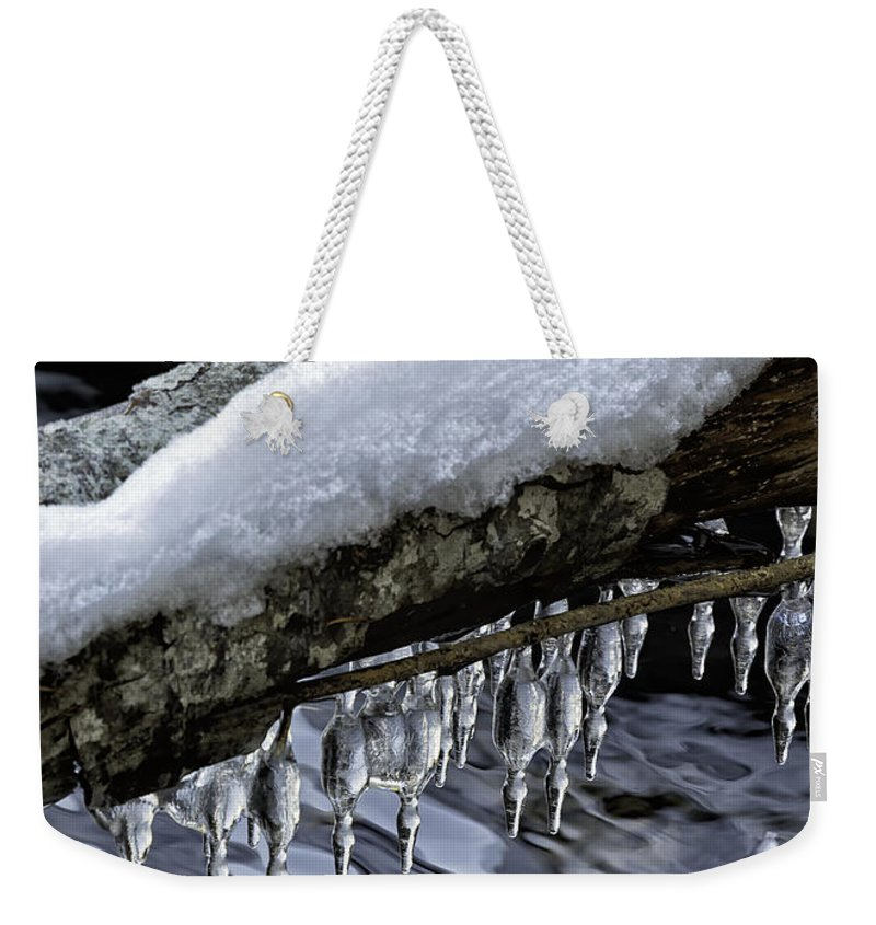 Snow Weekender Tote Bag featuring the photograph Snow And Icicles Happy Holidays Card by Belinda Greb