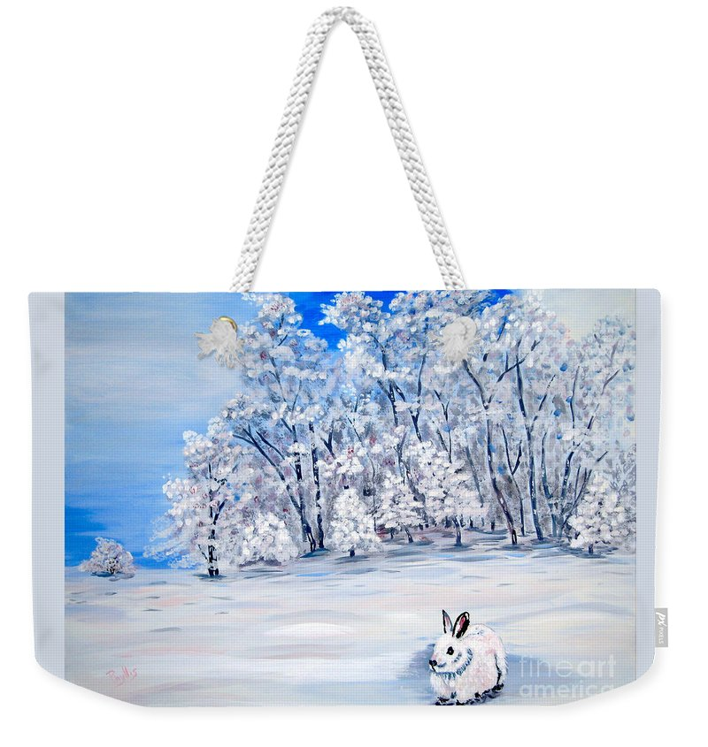 Bunny Weekender Tote Bag featuring the painting Snow Bunny by Phyllis Kaltenbach