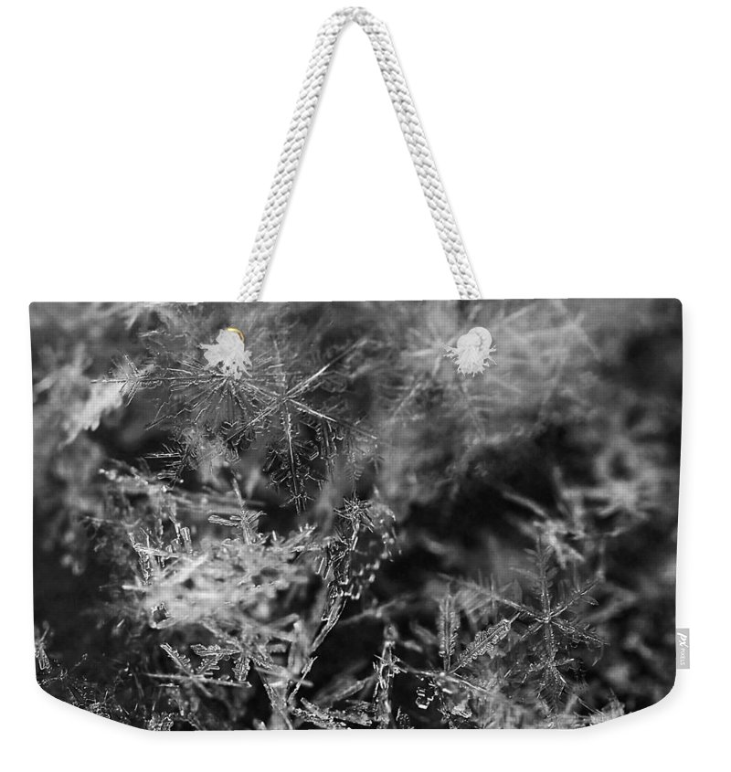 Snowflake Weekender Tote Bag featuring the photograph Snow Constellation by Rona Black