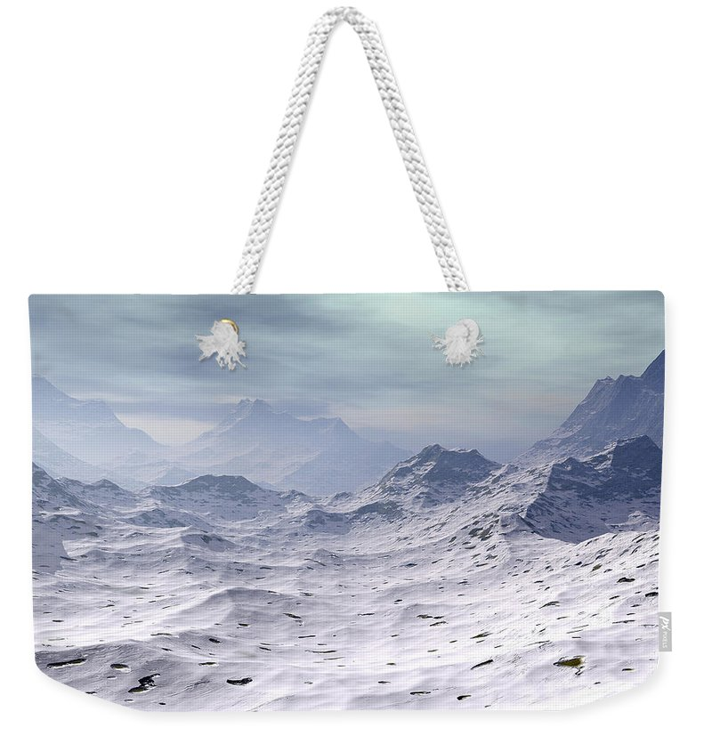 Nature Weekender Tote Bag featuring the digital art Snow Covered Mountains by Phil Perkins