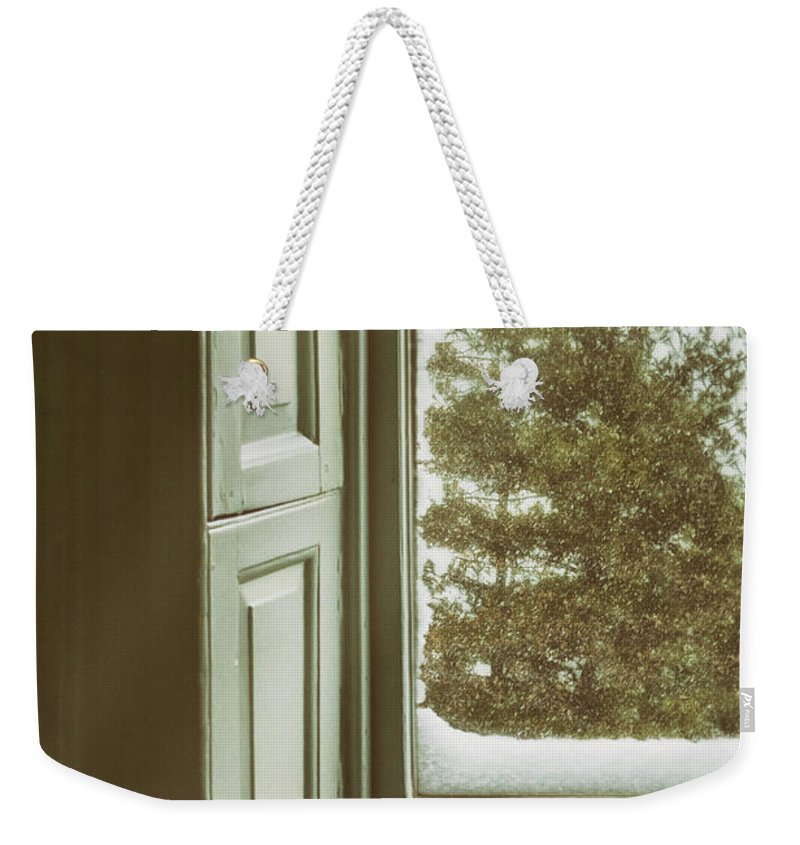 Window Weekender Tote Bag featuring the photograph Snow Covered Pine by Margie Hurwich