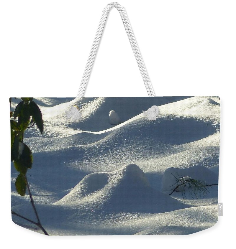 Snow Weekender Tote Bag featuring the photograph Snow Dunes by Charles Ford