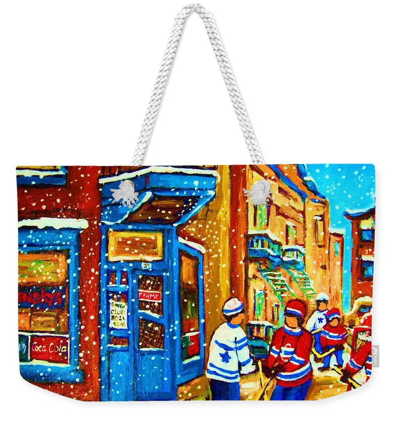 Wilenskys Weekender Tote Bag featuring the painting Snow Falling On The Game by Carole Spandau