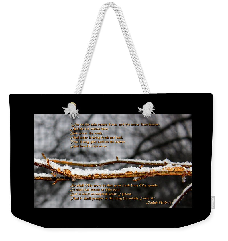 Christian Weekender Tote Bag featuring the photograph Snow From Heaven by Vicki Hawkins