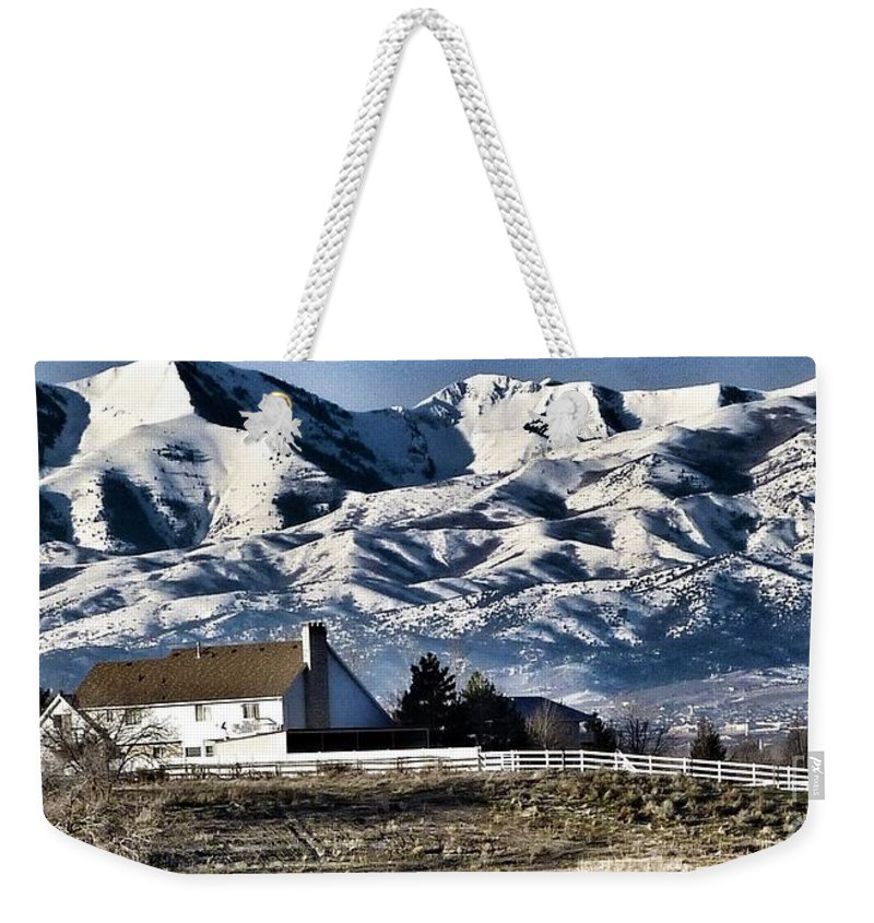 Scene Of Utah Mountains With Snow Weekender Tote Bag featuring the photograph Snow In The Mountains by Susan Garren