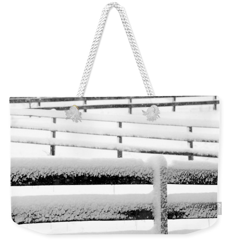 Snow Weekender Tote Bag featuring the photograph Snow In The Pasture by Tina Meador