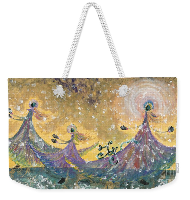 Joy Weekender Tote Bag featuring the painting Snow Joy by Nadine Rippelmeyer