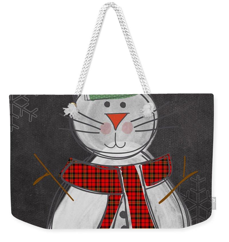 Cat Weekender Tote Bag featuring the painting Snow Kitten by Linda Woods