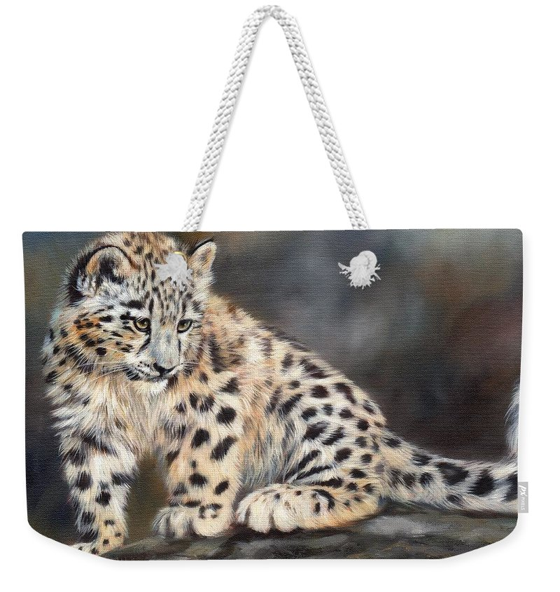 Snow Leopard Weekender Tote Bag featuring the painting Snow Leopard Cub by David Stribbling